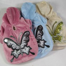 Pasji pulover s kapuco z motivom metulja - moder, semiš, M