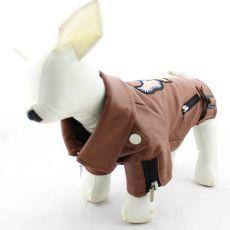 Jakna za pse iz umetnega usnja – rjava z orlom, XXS