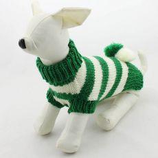 Pasji pulover – pleten, zelen in bel, L