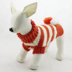 Pasji pulover – pleten, oranžen in bel, L