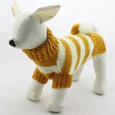Pasji pulover – pleten, rumen in bel, L
