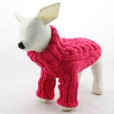 Pasji pulover – pleten, temno roza, L