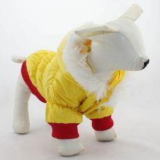Pasja bunda s kapuco – rdeče-rumena, XXS
