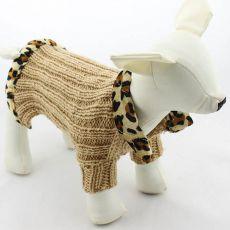 Pleten pasji pulover – bež, leopard, L