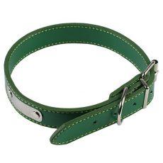 Usnjena pasja ovratnica - zelena, 35 cm