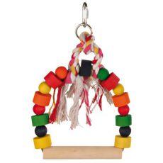 Igrača za ptice - pisana gugalnica z vrvjo, 20x29 cm