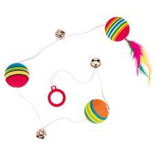 Igrača za mačke - žogice in zvončki na elastični vrvici