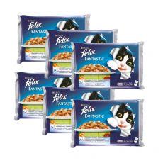 Hrana za mačke FELIX - ribe z zelenjavo v želeju, 6 x 400 g