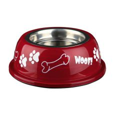 Posoda za pse s plastičnim robom, rdeča - 0,45 L