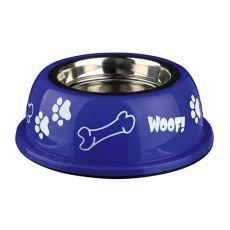 Posoda za pse s plastičnim robom, modra - 0,45 L