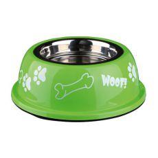 Posoda za pse s plastičnim robom, zelena - 0,9 L