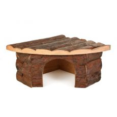 Lesena kotna hiška za glodalce - 22 x 15 x 10,5 cm