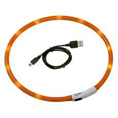 LED pasja ovratnica DOG FANTASY - oranžna, 70 cm