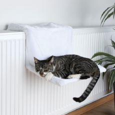 Radiatorsko ležišče za mačke, beli pliš - 45x24x31