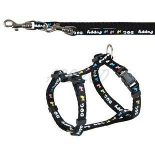 Oprsnica in povodec za pse, črne barve - 23-34cm/8mm