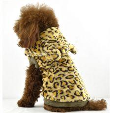 Pasji plašč iz pliša – leopardji vzorec, kapuca, zlat XXL