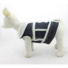 Pasji telovnik iz jeansa – belo umetno krzno, S
