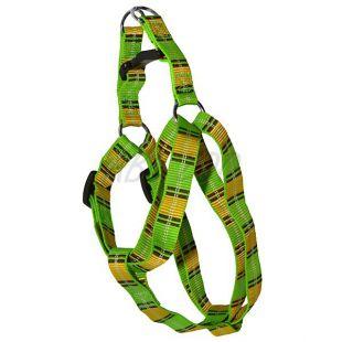 Pasja oprtnica - rumeno-zelena karirasta S 1,6 x 30-45 cm
