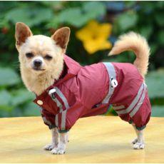 Odsevni dežni plašč za pse – bordo, XS