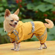 Odsevni dežni plašč za pse – temno rumen, S