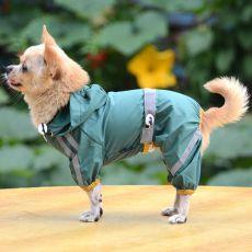 Odsevni dežni plašč za pse – temno zelen, XS