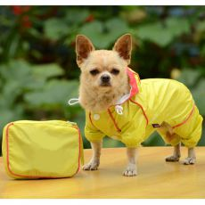 Pasji dežni plašč z etuijem – rumen, S