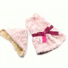 Pasji pulover s kapuco – roza s pentljico – XXL