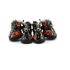 Pasji čevlji - sijoči z leopardjim vzorcem - oranžni, L
