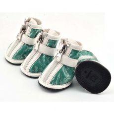 Pasji čevlji – srebrni potisk – zeleni, L