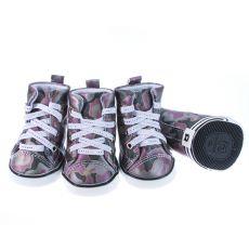 Pasji čevlji - vijolični maskirni vzorec, L