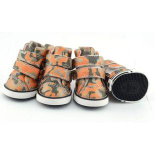 Pasji čevlji - kamuflažni vzorec - oranžni, L