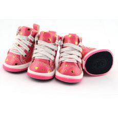 Pasji čevlji - roza s srčki, L