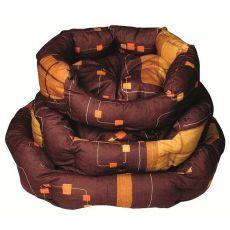 Postelja za psa - ovalna, rjava, 55 x 45 x 20 cm