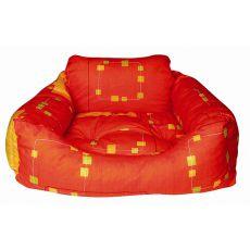 Postelja za psa - kvadratna, oranžna, 75 x 60 x 23 cm
