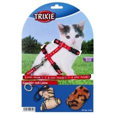 Mačji oprtnik s povodcem in igračami - rdeči