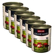Konzerva GranCarno Fleisch Adult zajec + zelišča - 6 x 800 g