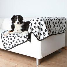Dvostranska odeja za psa BENNY - črno-bela, 150 x 100 cm